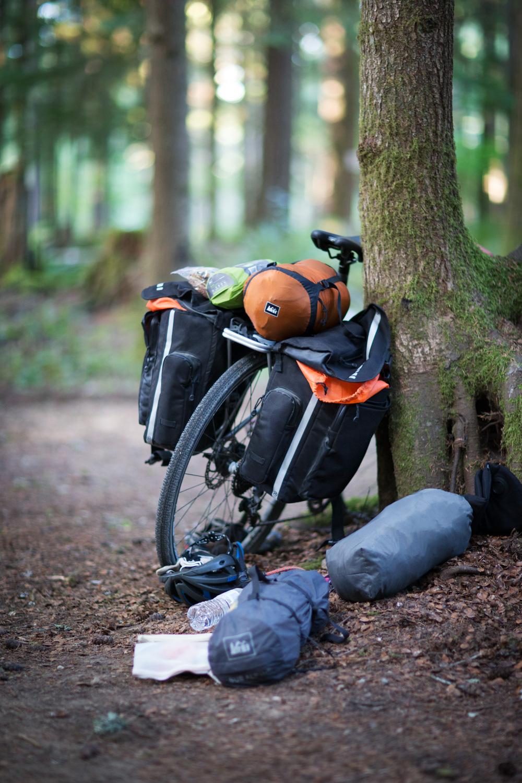 REI Novara road bike loaded with camping gear. Mount St. Helens.
