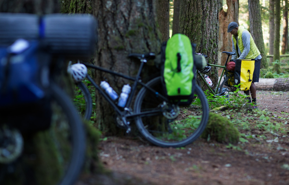 REI Novara bikes loaded with camping gear. Mount St. Helens, WA