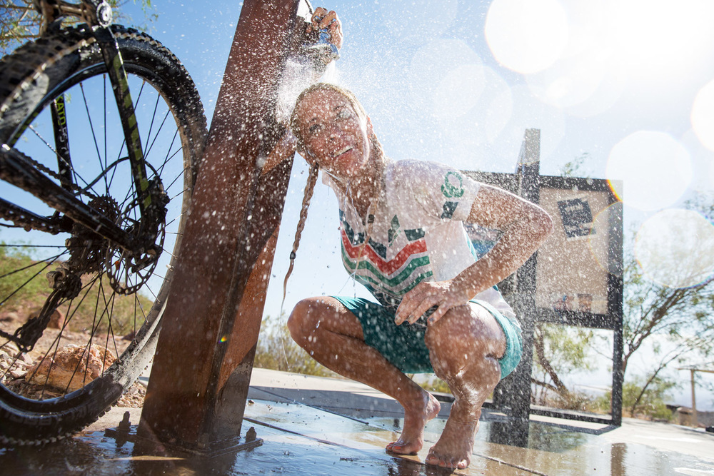 Rinsing off post-ride. Bootleg Canyon, NV
