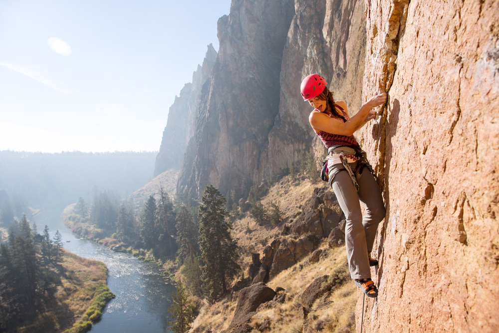 Lisa Chulich chatting with her belayer. Smith Rock, OR