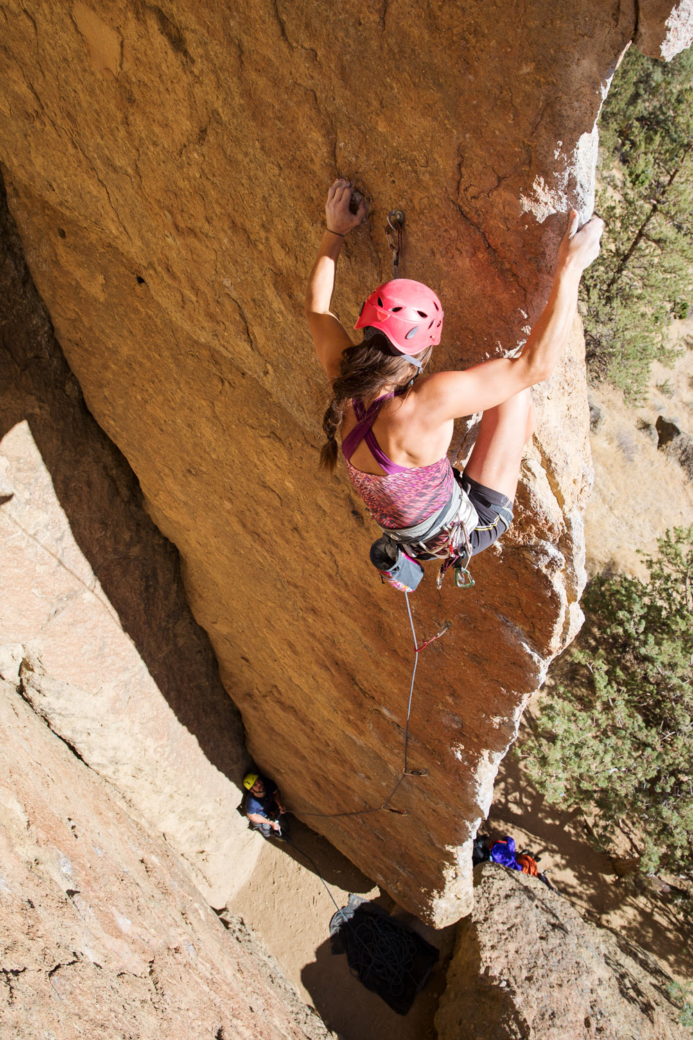 Lisa Chulich high on the wall. Smith Rock, OR