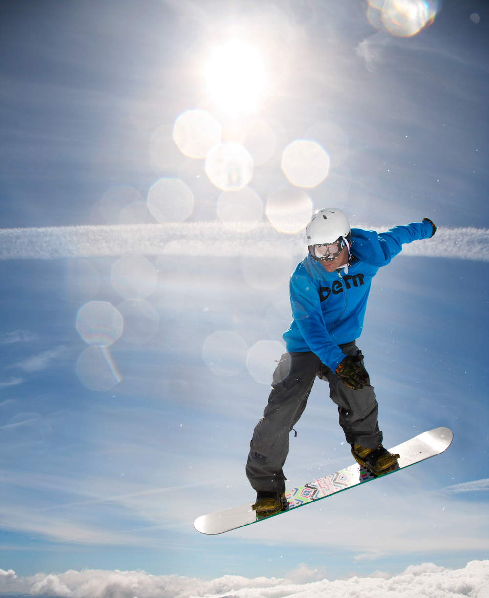 Professional snowboarding catching air. Mount Hood, OR