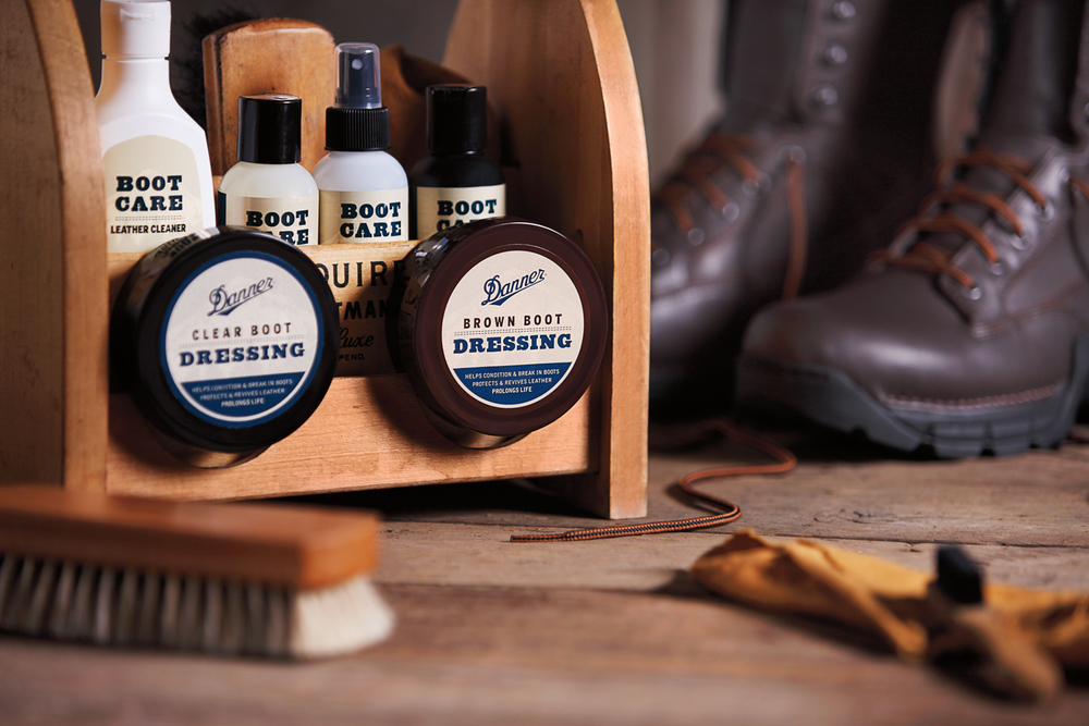 Product photography: Danner boot care collection. Shot in studio.