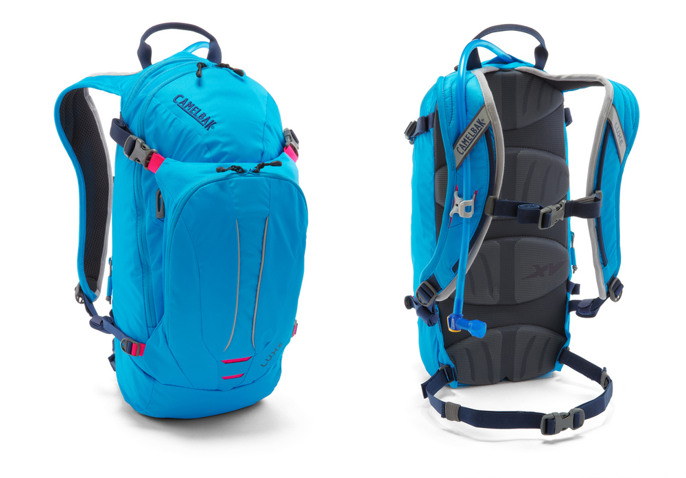 Product photography example: Blue Camelback backpack shot on white in studio. Images of both the front and the back.