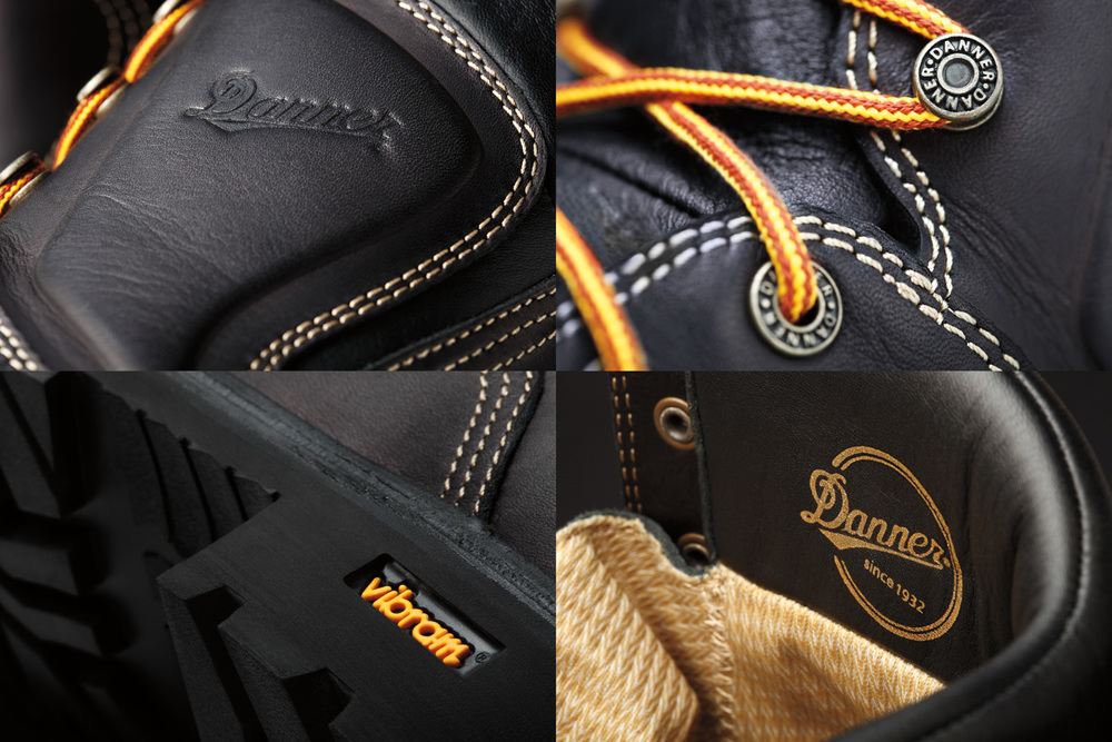 Product photography shot in studio: collection of four close up images of Danner Boots with Vibram soles.