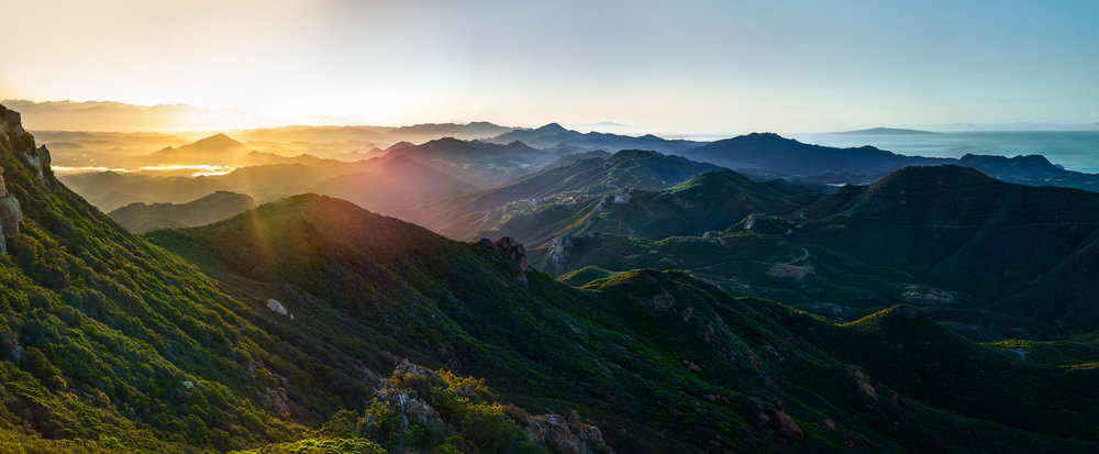 Sunrise over Los Angeles County from the Santa Monica Mountains, California