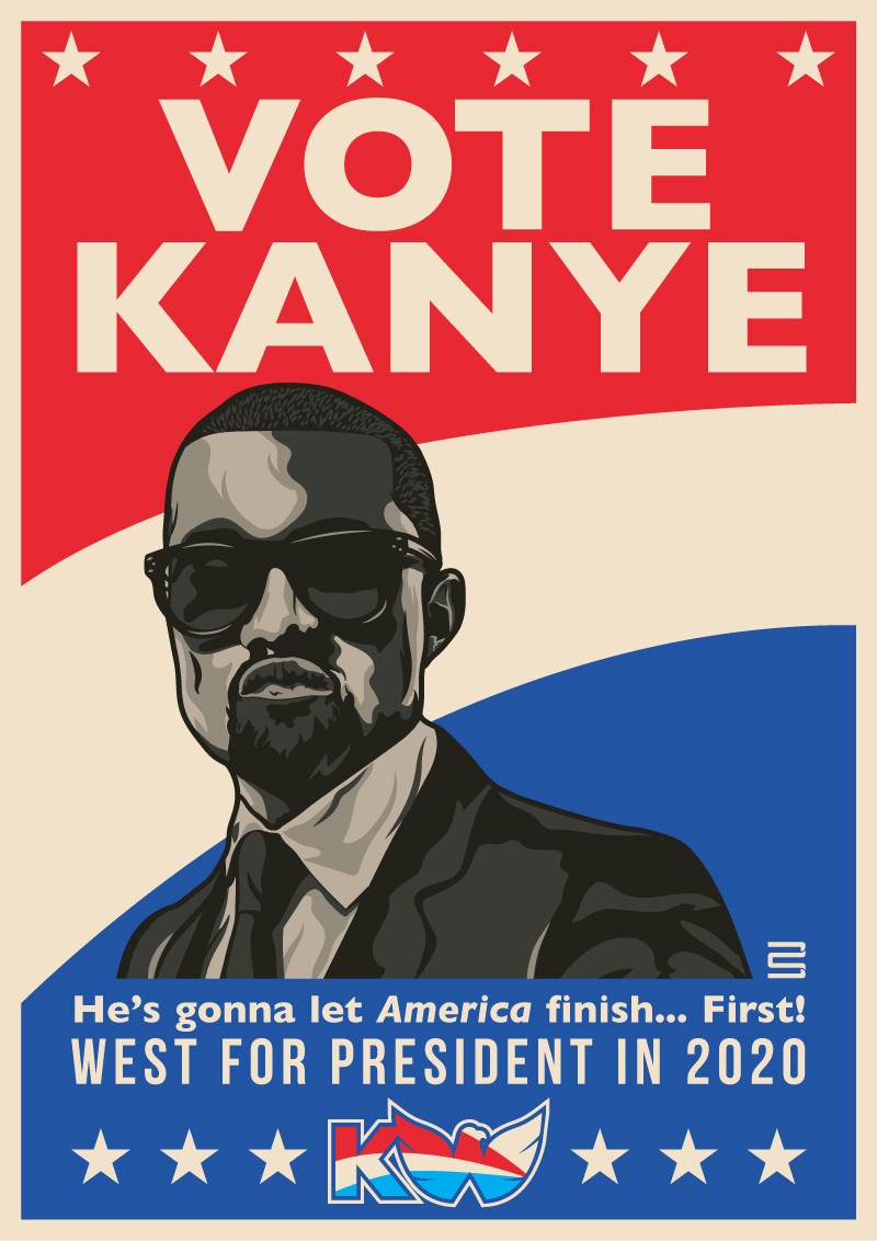 Maybe an analysis of politics in hip-hop will tell us how Kanye's bright idea will turn out… Art by Greg Bunbury