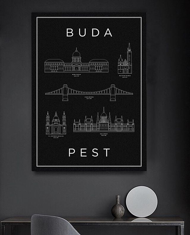 BB - Budapest in Black #hellomonument #decor #print #artdirection #interior #frame #buda #pest #chainbridge #castle #var #lanchid #church