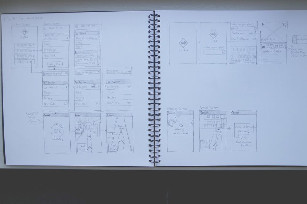 Lo-fi screen flow & UI sketch for smartphones