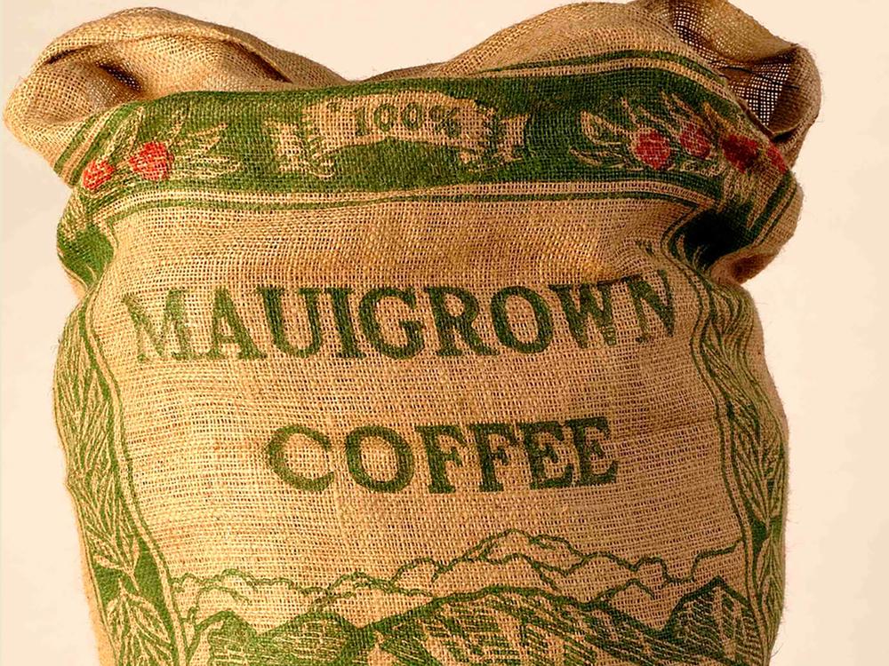 MauiGrown Coffee's signature 100 lb. burlap bag.