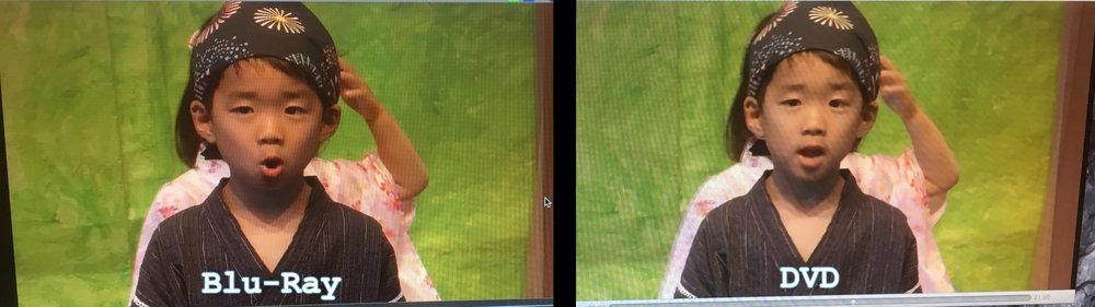 ウェブサイト上では違いが分かりにくいですが、Blu-RayとDVDの違いです。(↑クリックすると拡大) Blu-Rayの方が情報量が多い為、画質が綺麗になります。再生するとその画質の違いがわかるかと思います。 It's hard to tell on website. But this is the difference between Blu-Ray and DVD. Blu-Ray has more information and better picture quality. You can tell when you play on your player or computer. (Click photo to enlarge) DVD: Resolution: 720×480 (480i) Blu-Ray: Resolution: 1920×1080 (1080p)