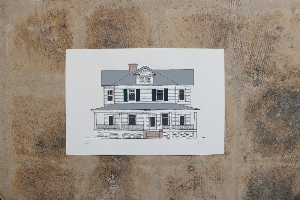Farm House Screen Print Artwork