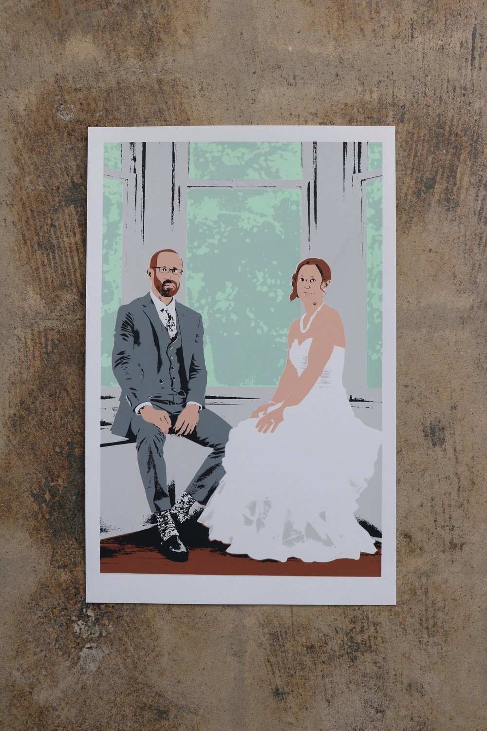 Wedding Portrait of Bride and Groom Screen Print