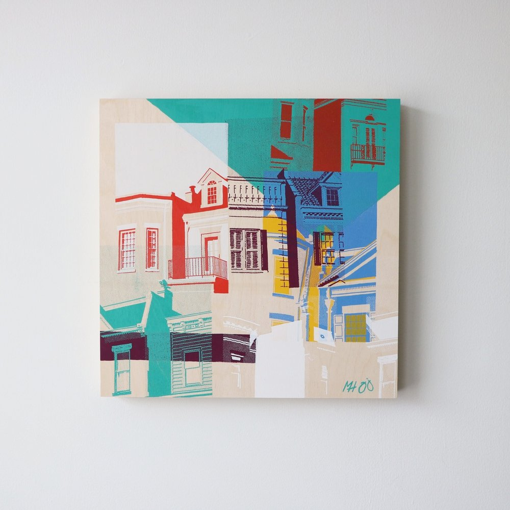 "Row Houses I  16"" x 16""  Sold"