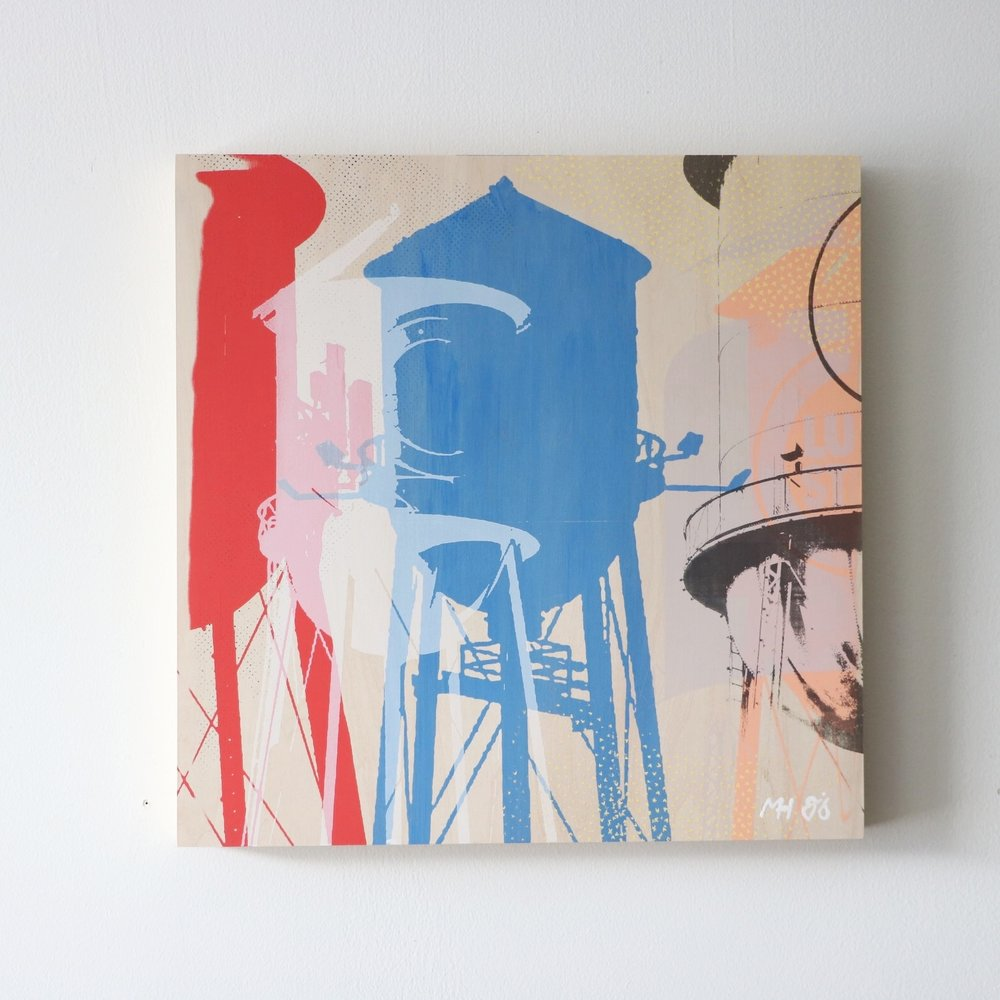 "Urban Water Towers  16"" x 16""  Sold"