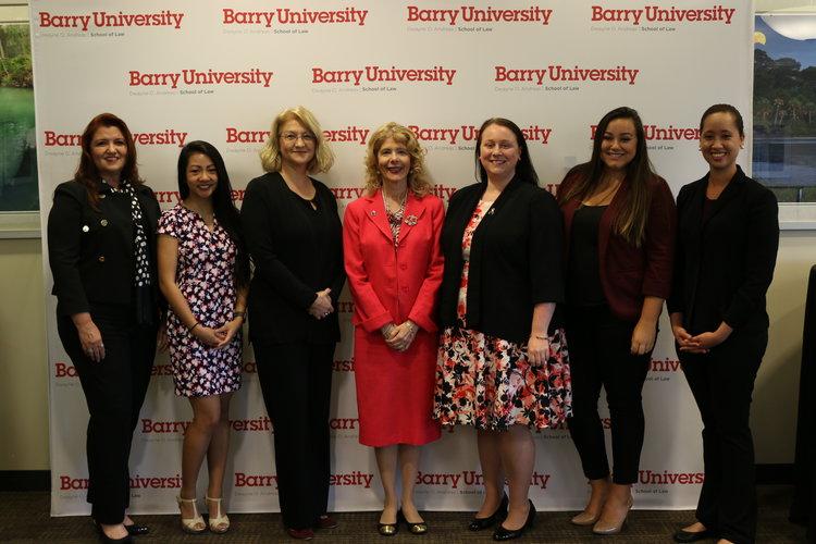 2017-18 Fellows Arlene Cuellar & Kathryn Avila; CEJ Associate  Director Kelli McGee; Barry Law Dean Leticia Diaz; CEJ Director Margaret Stewart; and 2017-18 Fellows Samantha Koempel & Lizaida Guadalupe.