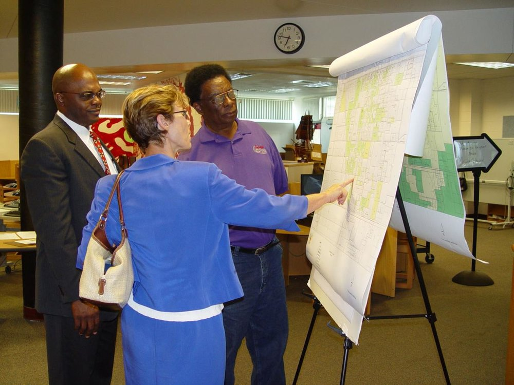 Once upon a time — At a meeting in 2007, Gerald Chester, Bo Davenport, and former DeLand Community Development Director Dale Arrington discuss plans for the Spring Hill Community Redevelopment Area  BEACON PHOTO/MARSHA MCLAUGHLIN