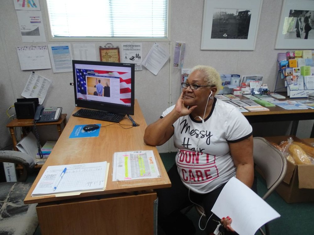 """They help you a lot"" — Donna Rene'e Bess is one of those who rely on the Resource Center, ad the knowledge of the administrators, to understand the complicated paperwork associated with life in the modern world, search for jobs, or simply use the computer."