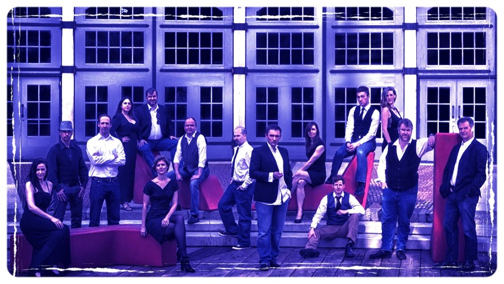 The 2013 Ensemble  ( from left to right: Michelle Ferguson, yurij kis, joel garner, rebecca walters, james gill, alison James, Daryl Hutchings, kaz leskard, tariq Leslie, alicia novak, michael smith, stephanie Elgersma, matthew bissett, graham bullen )