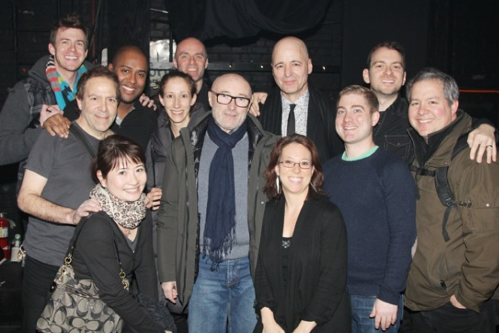 Kinky Boots Band backstage with Phil Collins. Photo by Bruce Glikas