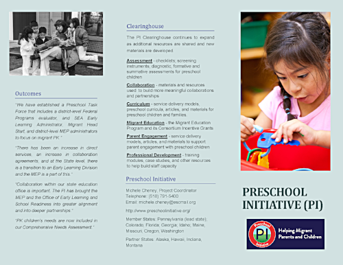 Download an informative brochure about the Preschool Initiative -