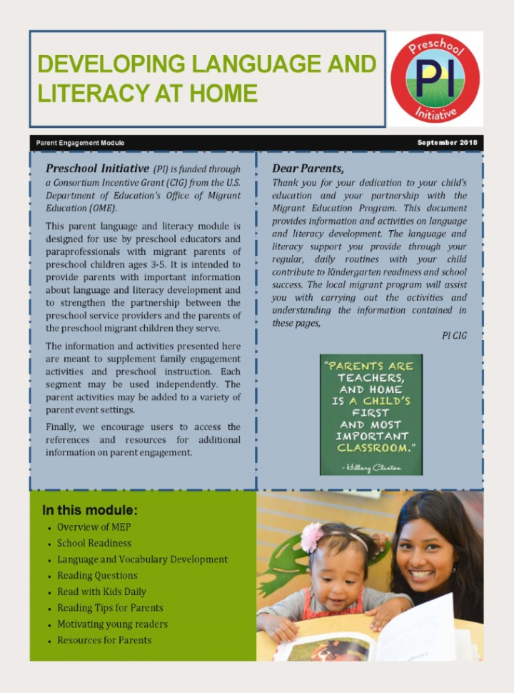 Developing Language and Literacy at Home