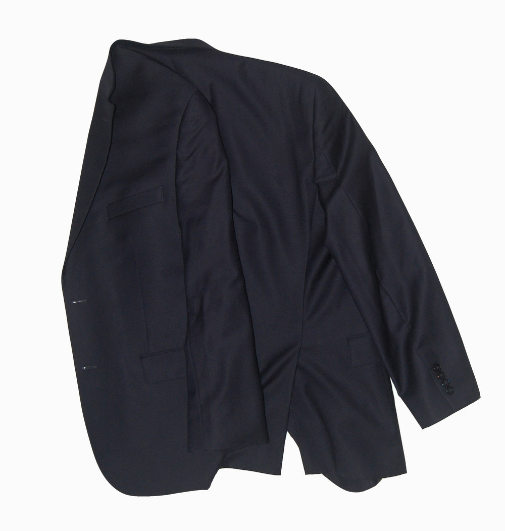 Fold the left side inward to the midpoint of the back of the jacket.