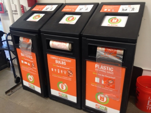 Rechargeable batteries, CFL bulbs, and plastic bags recycling bins at Home Depot