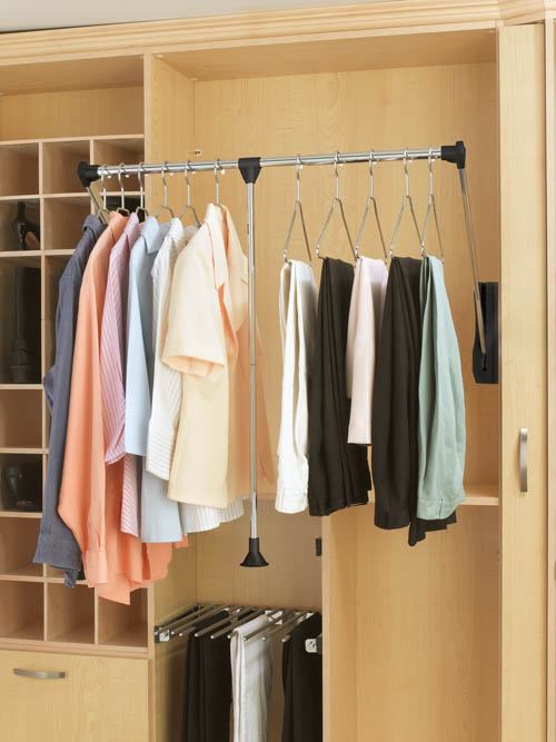 Pull-down closet rod for closet available at  rev-a-shelf.com