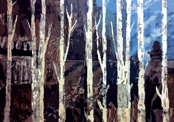 "Western University Human Resources Dept.:   Above is a mosaic project created by the Human Resources Dept. at Western University for a team-building workshop. Fifty adults contributed to this artwork using only Japanese papers and a gluestick! The finished product depicts a  Northern Ontario scene of Agawa pictographs, ignukshuks and birch trees. The participants wrote down accomplishments they achieved throughout the year along the trunks of the trees. Final image size: 64""w x 48""h"