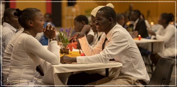 (Agnes & Patroba during dinner)