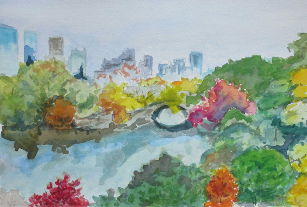 "Watercolor: ""I Recall (Central Park in Fall)"""