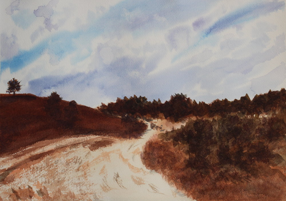 Pathway to the Sky, Watercolor in the 'Scapes show