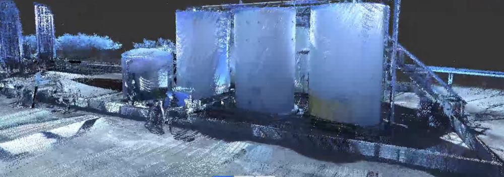 Laser Scan  generated intelligent point cloud of oil and gas tanks