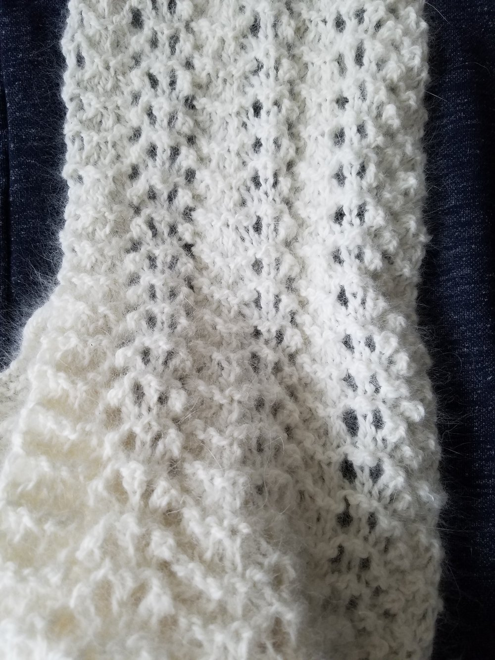 - HAND-KNIT SCARF - made using The Rosefield 50% angora/50% merino yarn