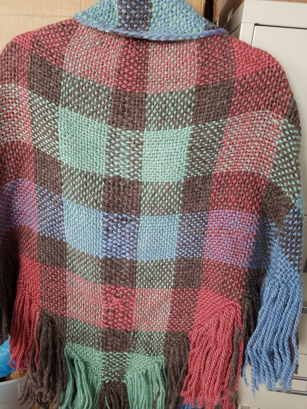 - TRI-COLOR SHAWL - made on a triangle loom using The Rosefield Bulky Liecester Longwool yarn
