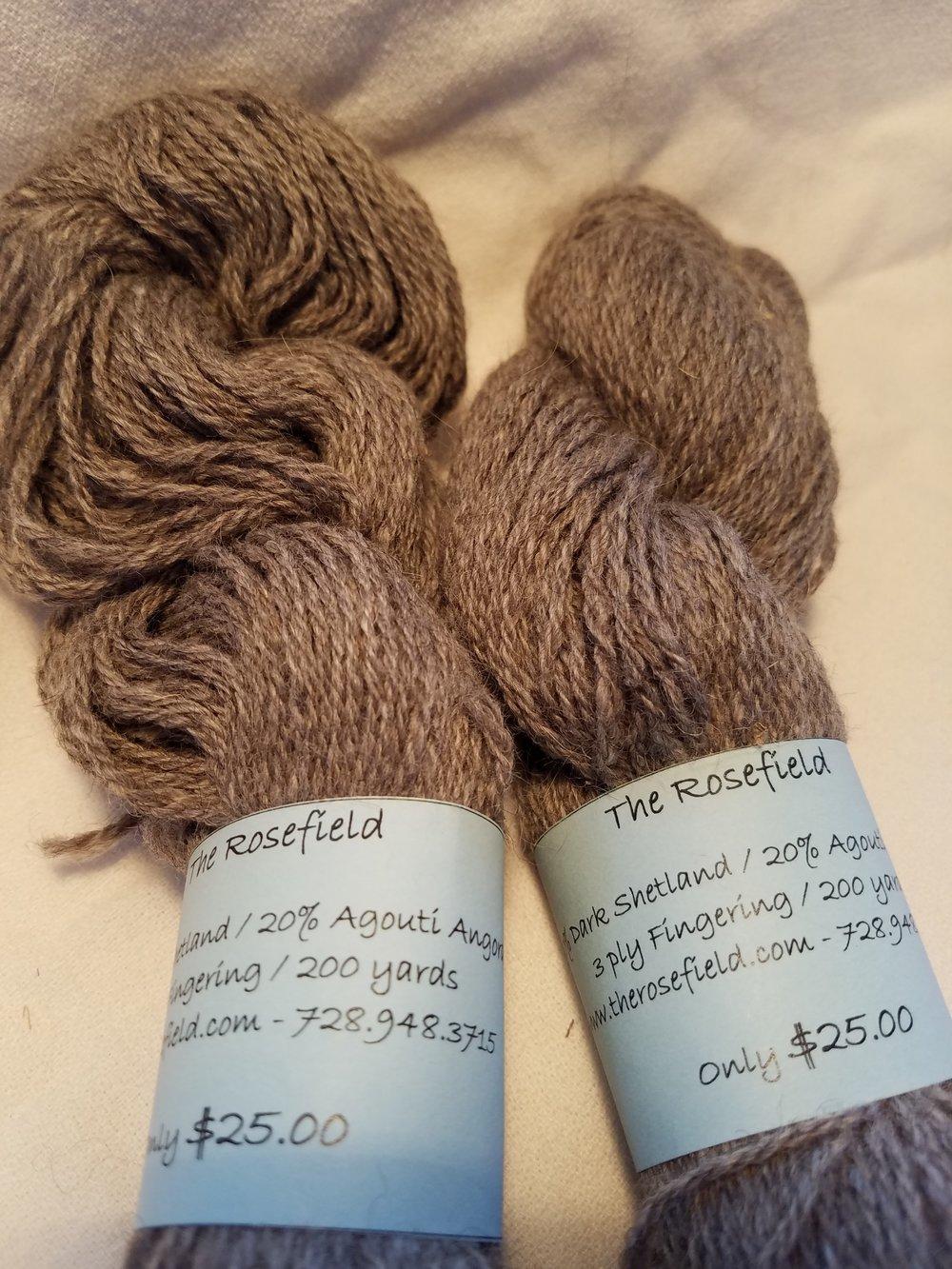 10. Dk Shetland/Agouti Angora 3 ply fingering