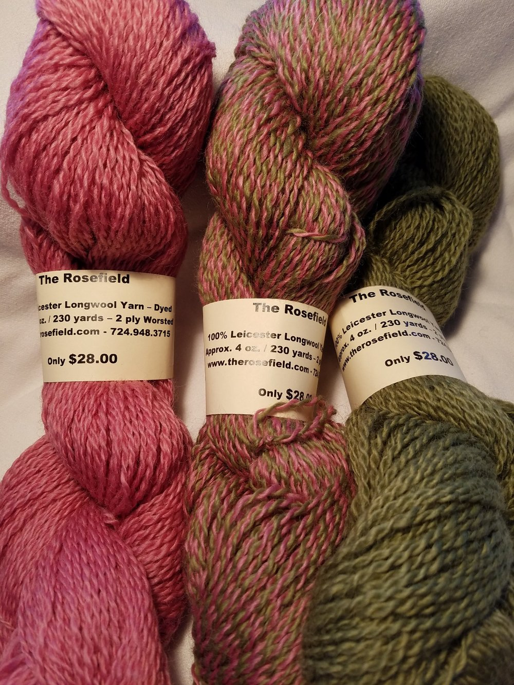 5. 2 ply worsted - dyed pink, green, swirl