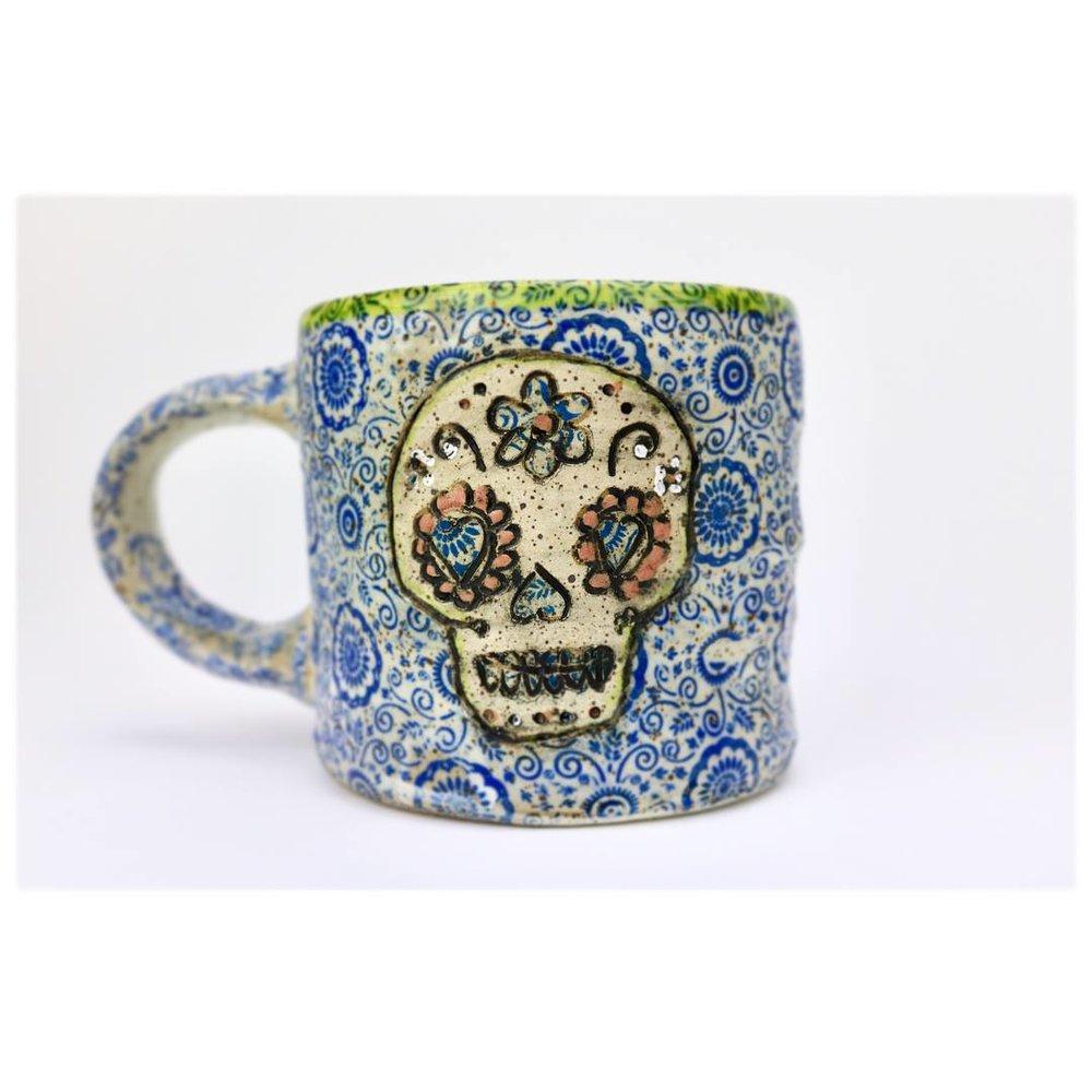 sugar skull mug chartreuse.jpg
