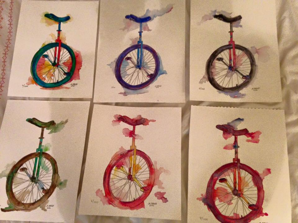 Jackie Lea Shelley has painted 45 unicycles so far, on her way to 100 and a sizable donation to San Francisco Suicide Prevention. All photos with this article are hers and are used by permission.