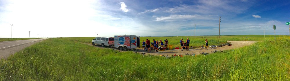 The Bike & Build team had their overnight gear carried from destination to destination. Here they are in Oklahoma and the true prairie flatlands.           photo courtesy of sarah hey