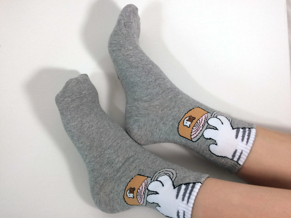 """Stealing Paws"" style - Awesome Socks; Photo Credit - The Sock Review"