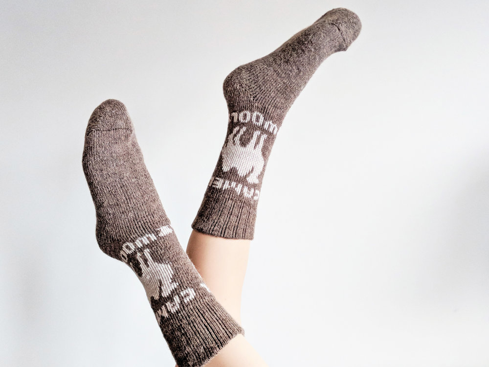 Showing off camel wool socks, featuring Camel Wool Socks with 'Camel' Pattern - Photo Credit: The Sock Review