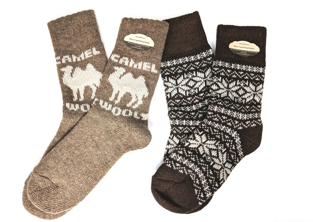 Two of the camel wool socks available to shop - Photo Credit: The Sock Review