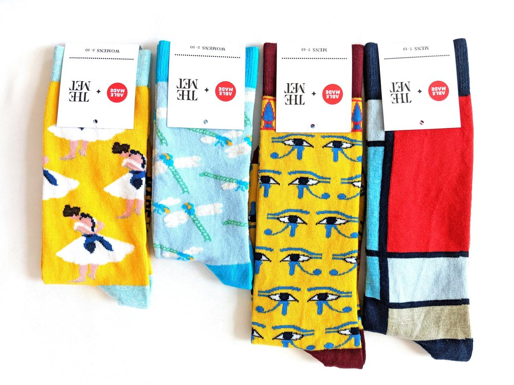 A choice selection of some of the 18 styles from the collection; a sampling of the variety of styles available at The Met Fifth Avenue. Photo Credit: The Sock Review
