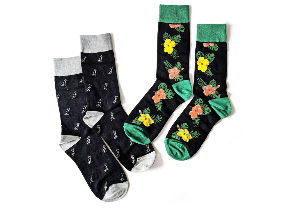 """Smith Dalmatian"" and ""Wilde Floral"" styles for men - available on The Dapper Collection website - Photo Credit: The Sock Review"