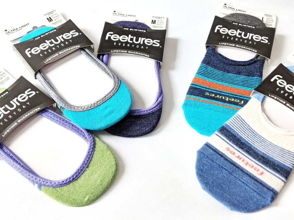 Feetures ''Hidden' styles are designed to keep from slipping and tearing; these colorful, and comfortable ultra light invisible no-show socks are just the perfect pair for the hot Summer heat. Photo Credit: The Sock Review