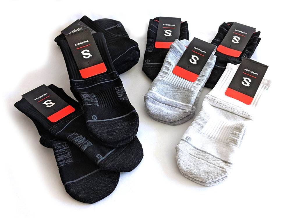 An assortment of sock heights - a variety of Strideline socks. Photo credit: The Sock Review