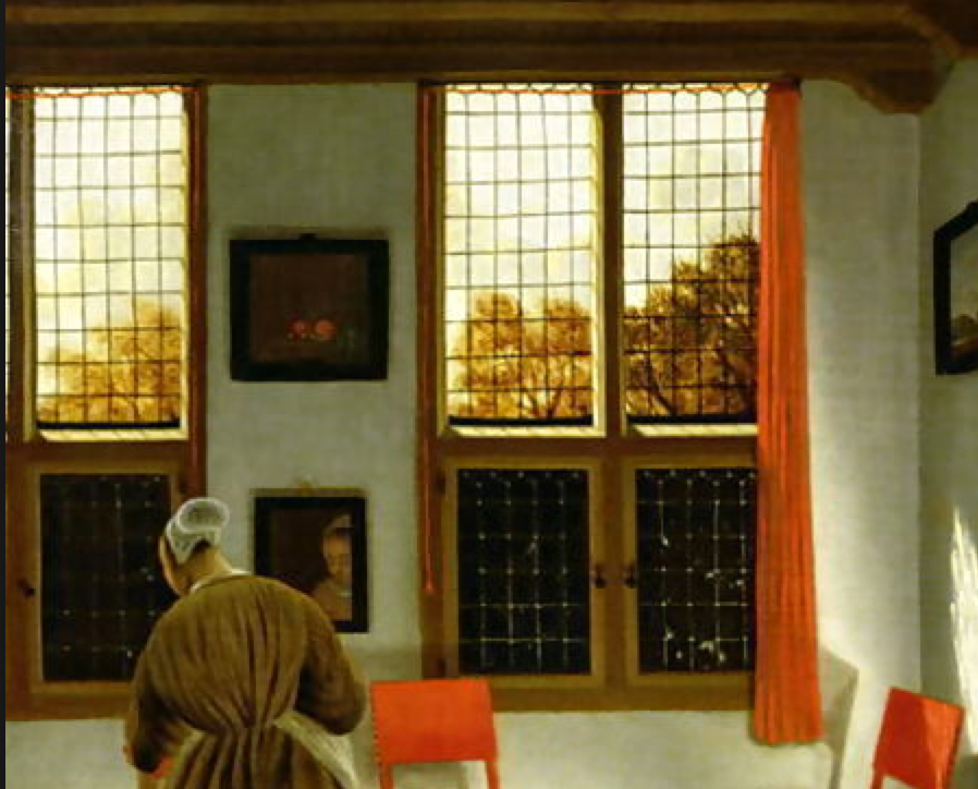 Pieter Janssens Elinga - contemporary of Vermeer? More vertical rectangular windows with a decorative angle cut at the top.
