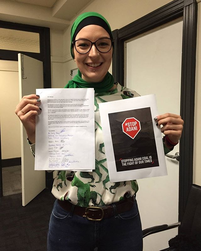 The #StopAdani National Week of Action is well underway. Meet our Training & Evaluation Manager, Lucy, who organised a screening and discussion of Leonardo DiCaprio's 'Before The Flood' documentary at our Perth office last night! Here she is with a letter to our local MP with signatures from all of last night's attendees. A huge thanks to our staff who volunteered their time to make this night so special, and of course to #AustralianConservationFoundation for their amazing work fighting for the Great Barrier Reef, as well as getting communities all around Australia involved in stopping Adani! ❤